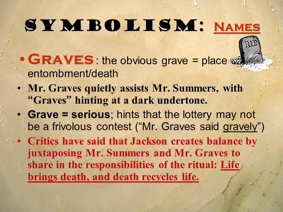 Graves : the obvious grave = place of entombment/death