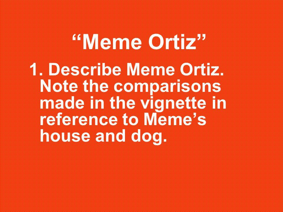 Meme Ortiz 1. Describe Meme Ortiz.