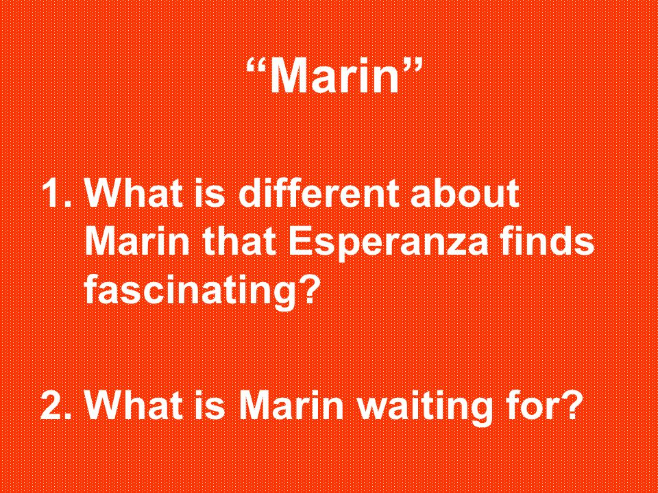 Marin What is different about Marin that Esperanza finds fascinating What is Marin waiting for