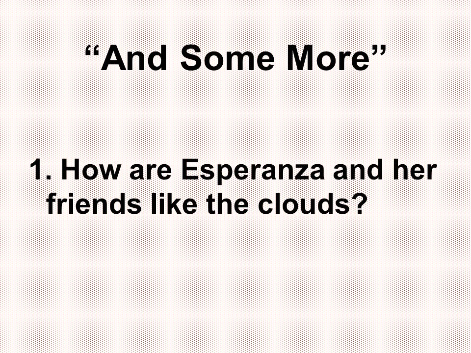 And Some More 1. How are Esperanza and her friends like the clouds