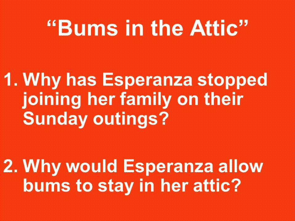 Bums in the Attic Why has Esperanza stopped joining her family on their Sunday outings.