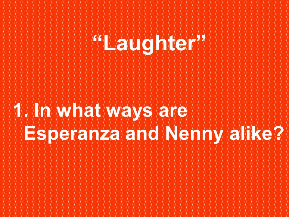 Laughter 1. In what ways are Esperanza and Nenny alike
