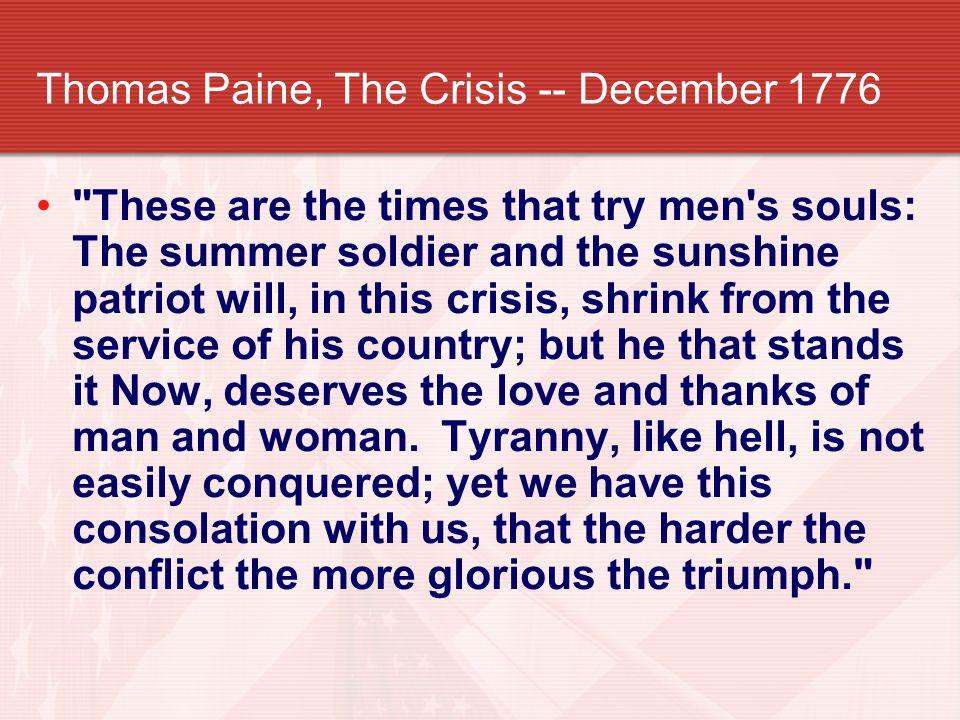 Thomas Paine, The Crisis -- December 1776