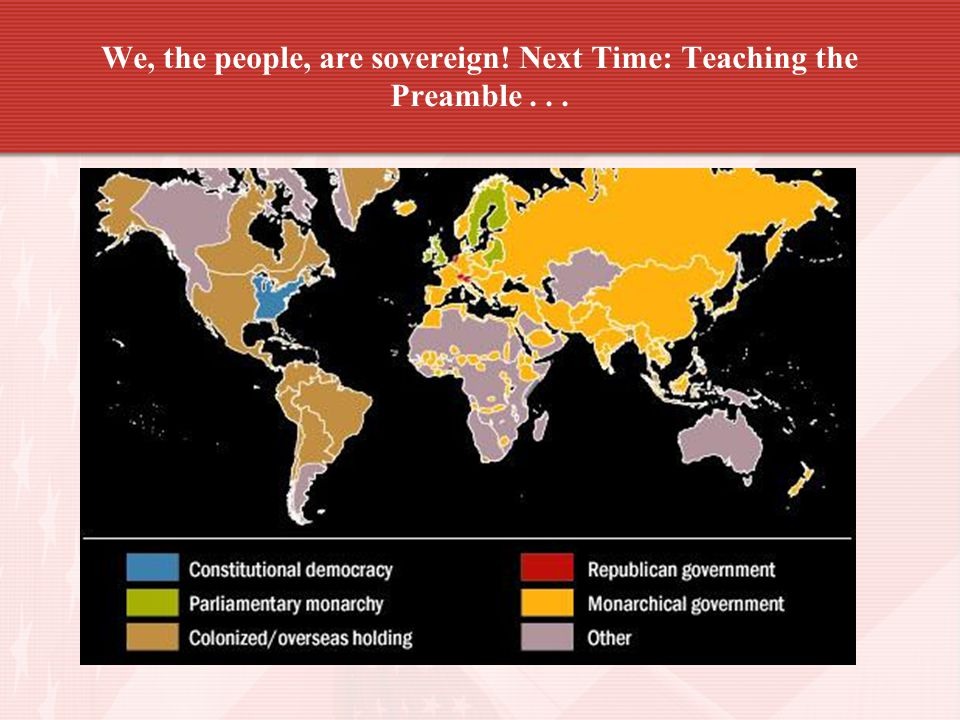 We, the people, are sovereign! Next Time: Teaching the Preamble . . .