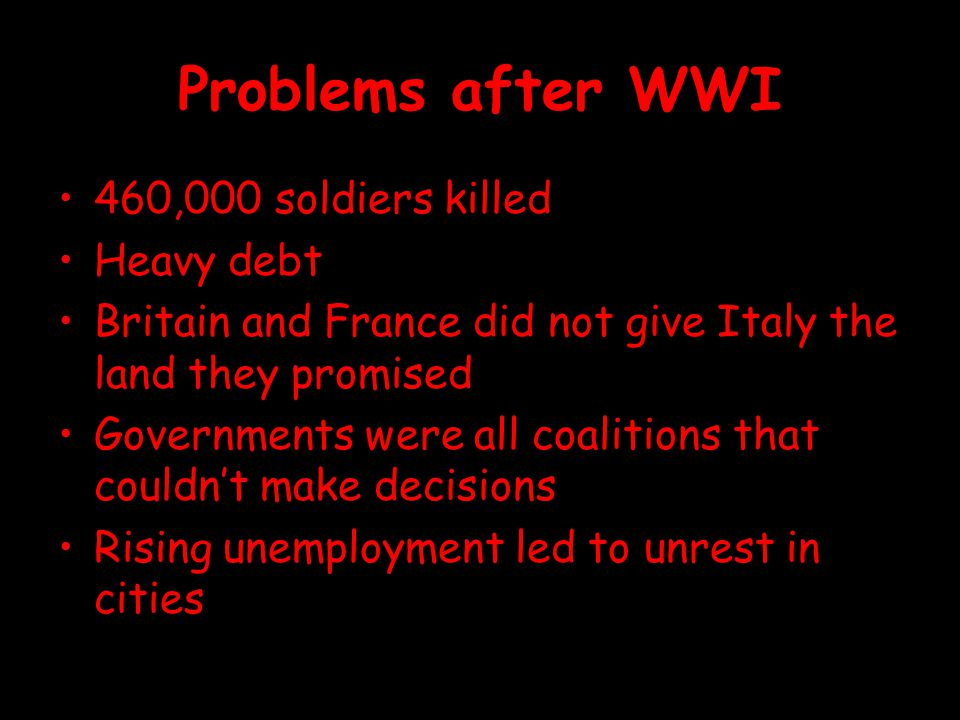 Problems after WWI 460,000 soldiers killed Heavy debt