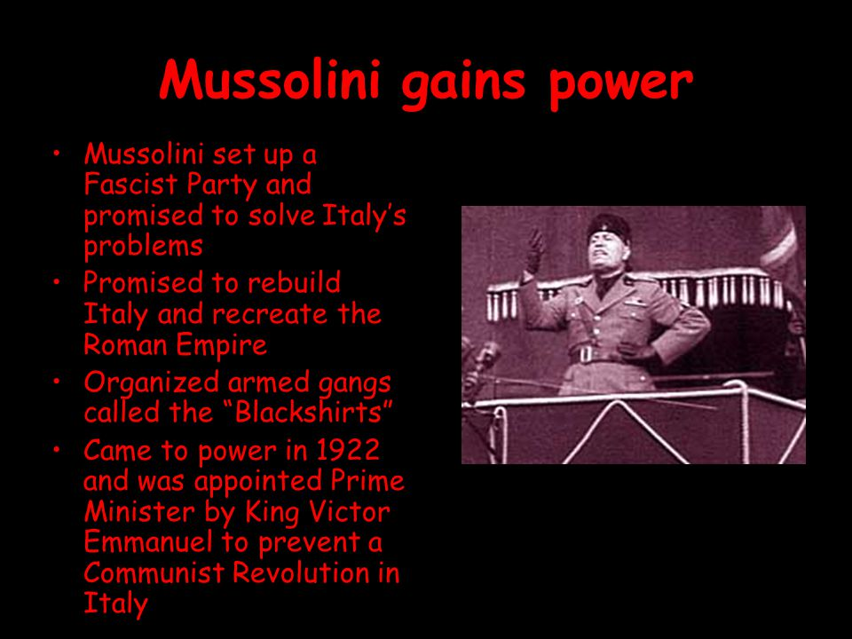 Mussolini gains power Mussolini set up a Fascist Party and promised to solve Italy's problems.