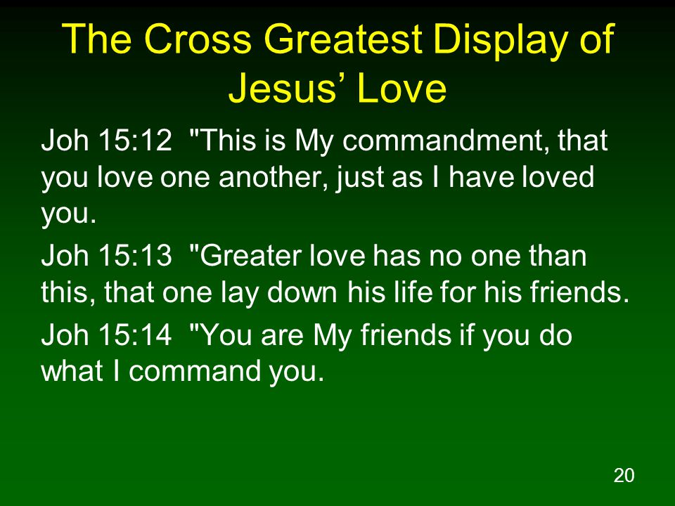 The Cross Greatest Display of Jesus' Love