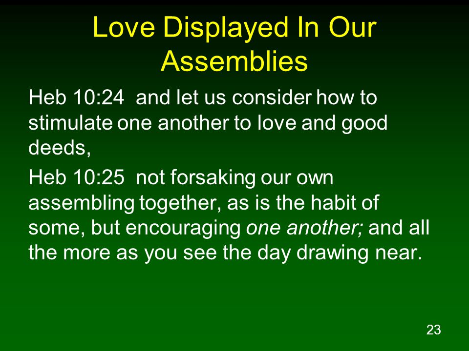 Love Displayed In Our Assemblies