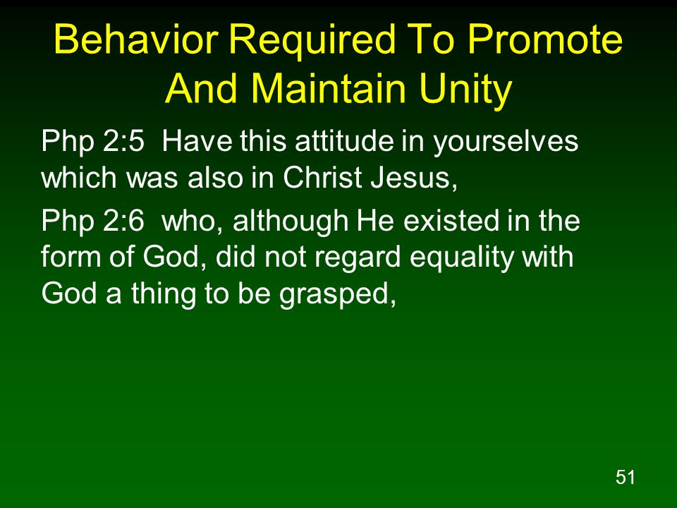 Behavior Required To Promote And Maintain Unity