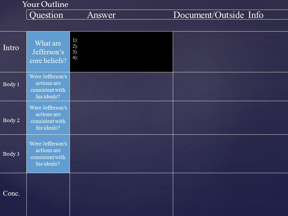 Question Answer Document/Outside Info