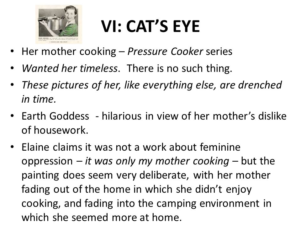 VI: CAT'S EYE Her mother cooking – Pressure Cooker series