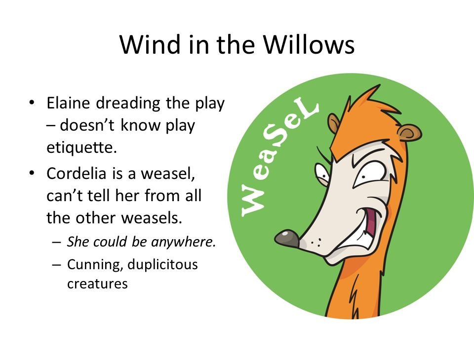 Wind in the Willows Elaine dreading the play – doesn't know play etiquette. Cordelia is a weasel, can't tell her from all the other weasels.