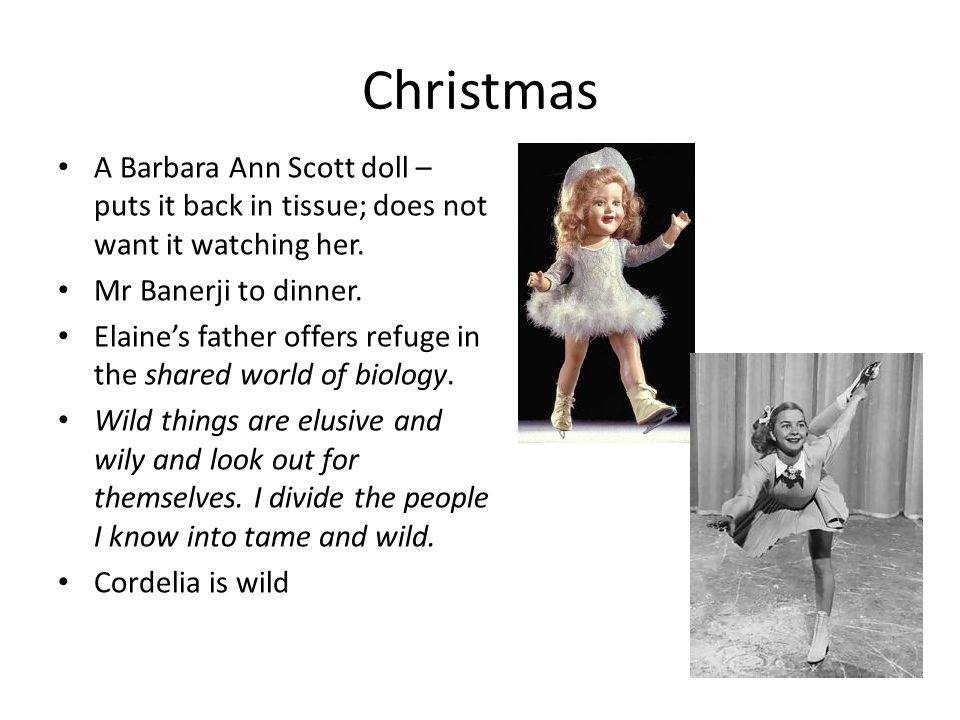 Christmas A Barbara Ann Scott doll – puts it back in tissue; does not want it watching her. Mr Banerji to dinner.
