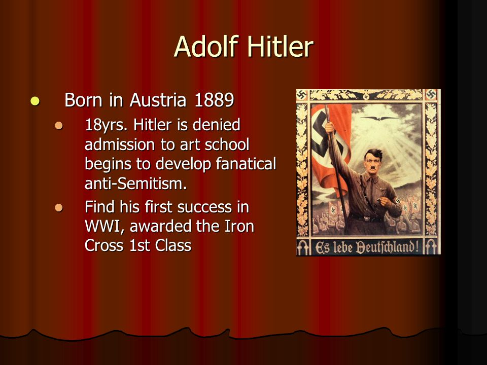 Adolf Hitler Born in Austria 1889