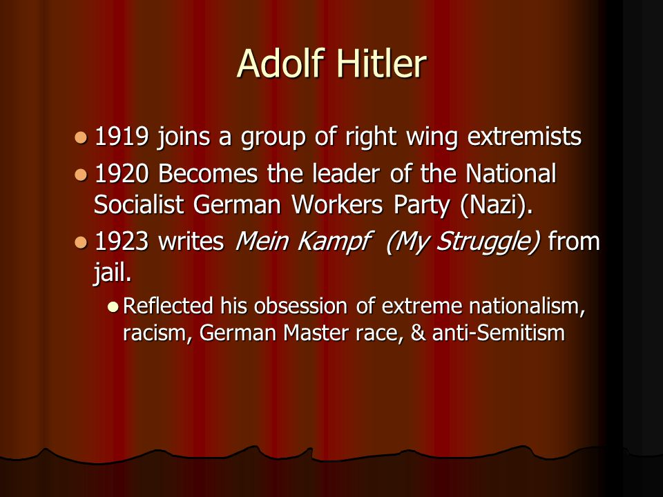 Adolf Hitler 1919 joins a group of right wing extremists