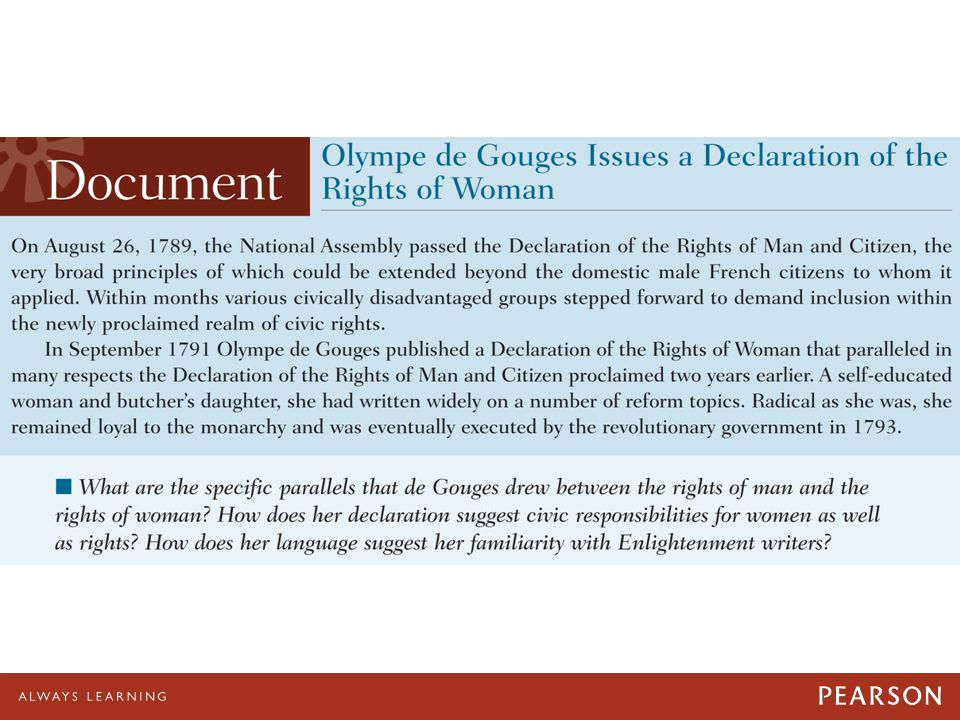 Olympe de Gouges Issues a Declaration of the Rights of Woman