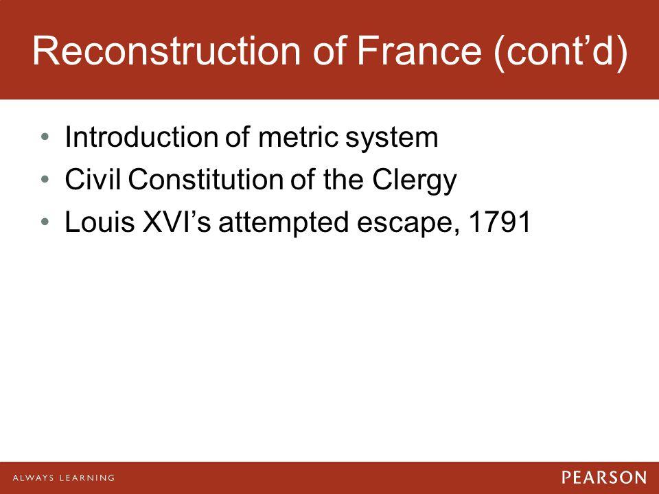 Reconstruction of France (cont'd)