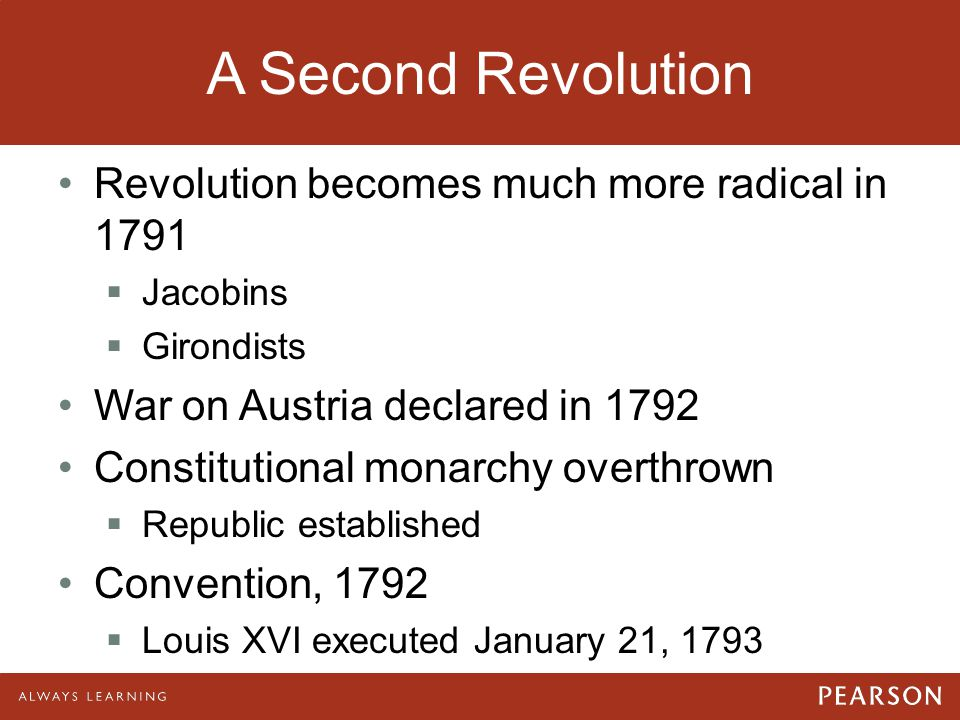 A Second Revolution Revolution becomes much more radical in 1791