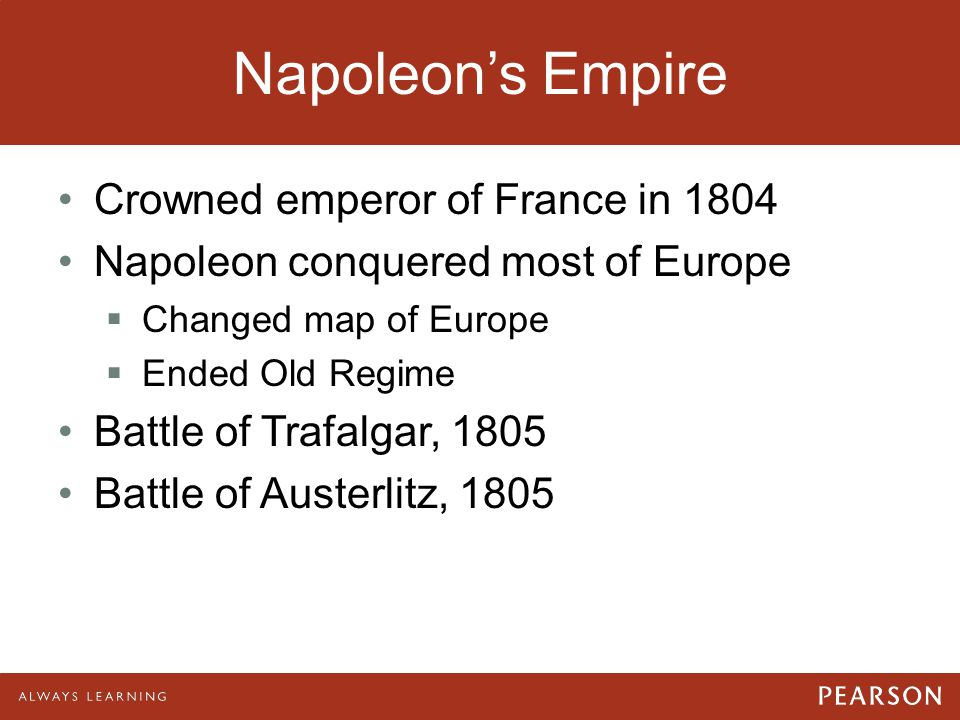Napoleon's Empire Crowned emperor of France in 1804