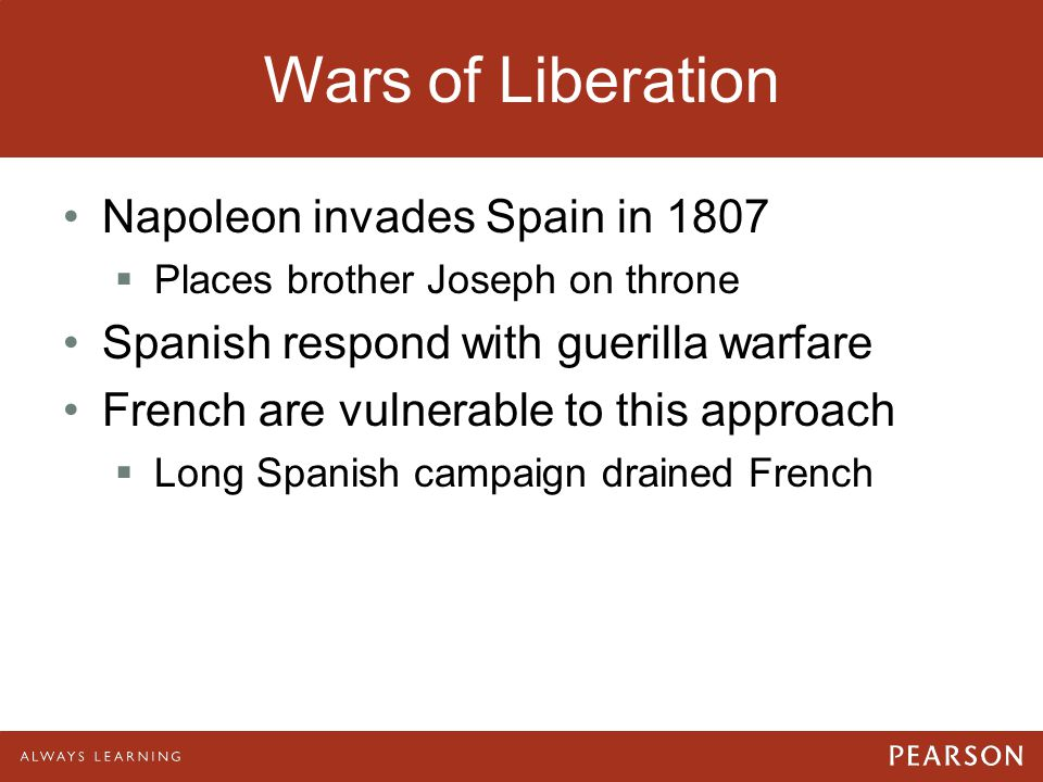 Wars of Liberation Napoleon invades Spain in 1807