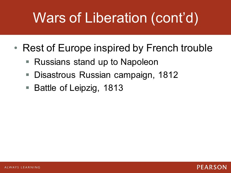 Wars of Liberation (cont'd)