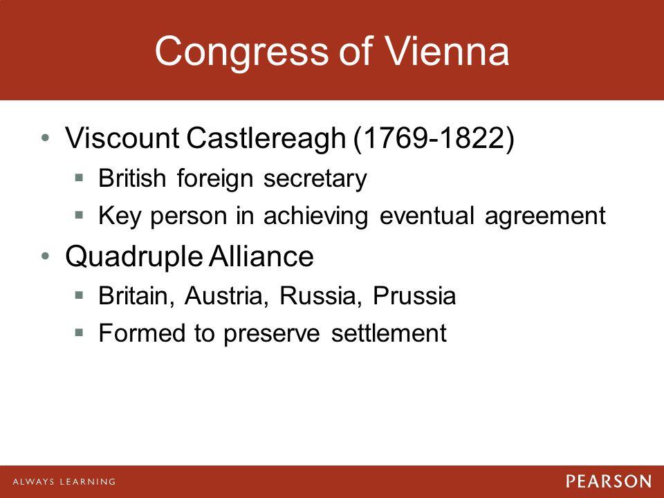 Congress of Vienna Viscount Castlereagh (1769-1822) Quadruple Alliance
