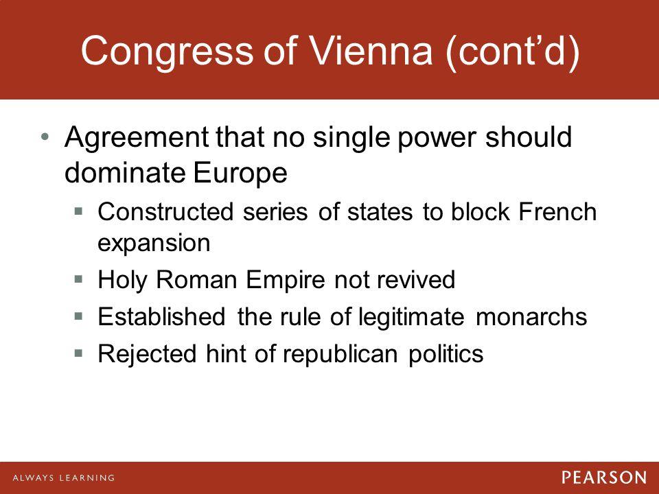 Congress of Vienna (cont'd)
