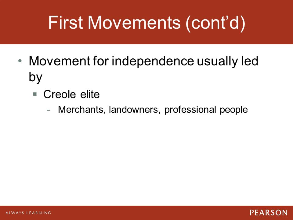 First Movements (cont'd)