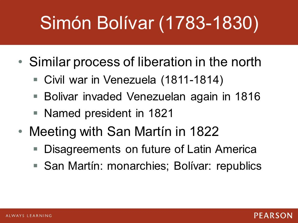 Simón Bolívar (1783-1830) Similar process of liberation in the north