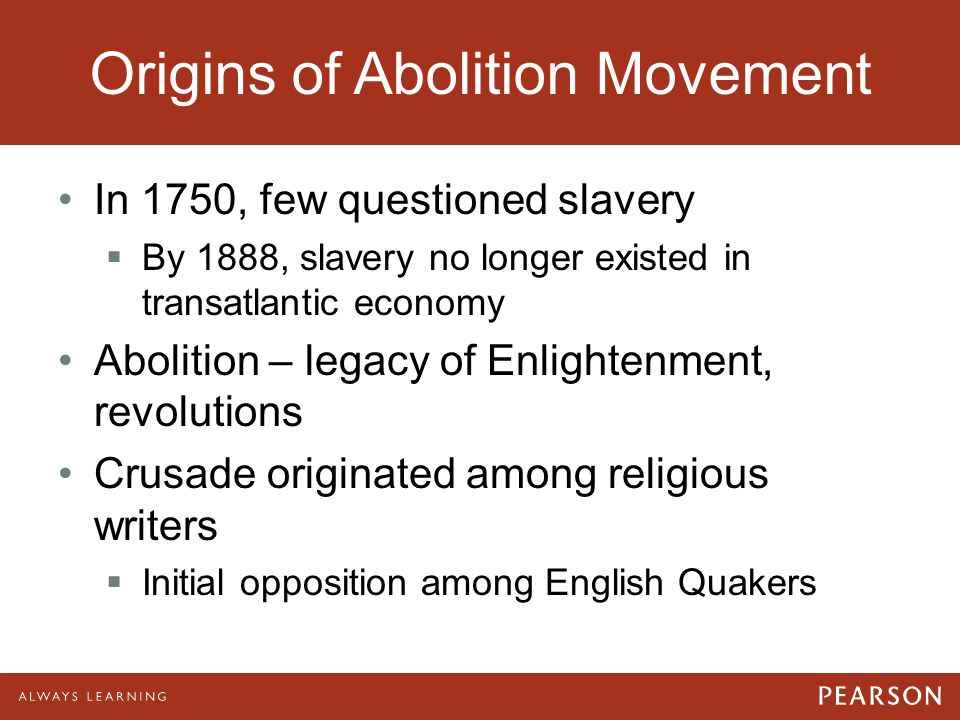 Origins of Abolition Movement