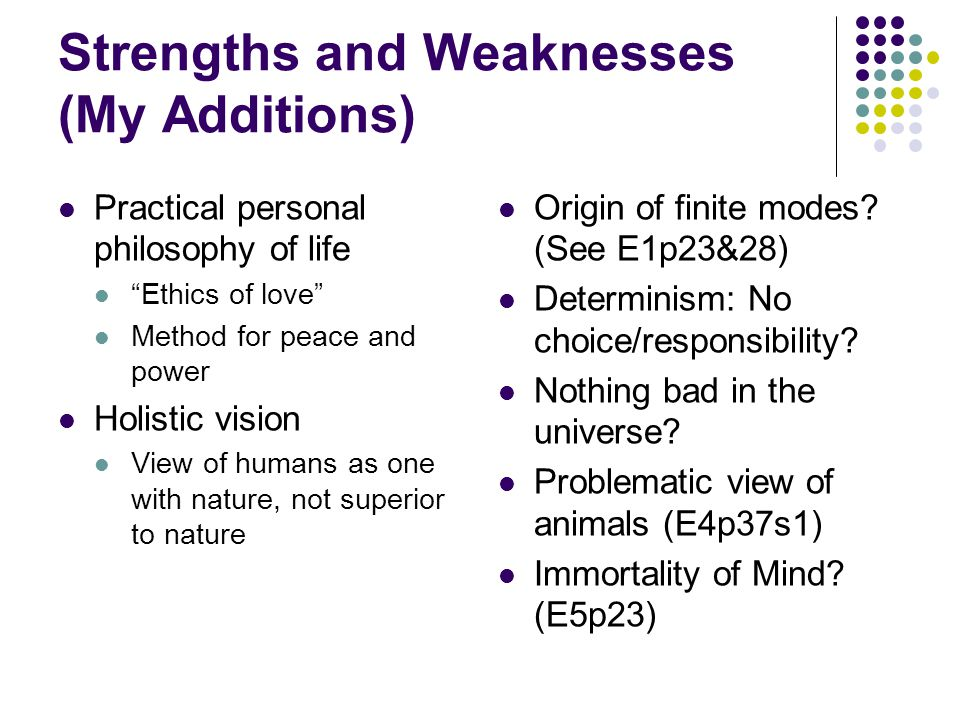 Strengths and Weaknesses (My Additions)