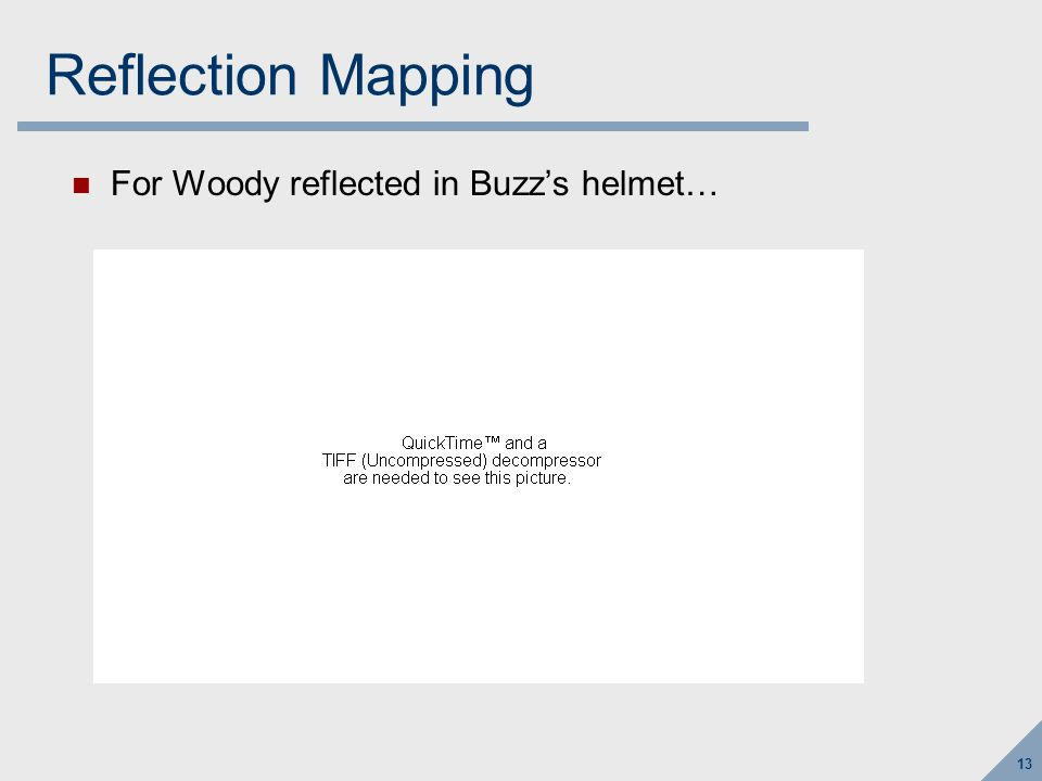 Reflection Mapping First, render just Woody, using camera at Buzz's head