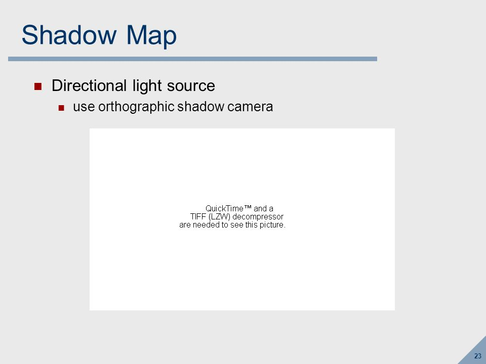 Shadow Mapping When lighting a point on a surface