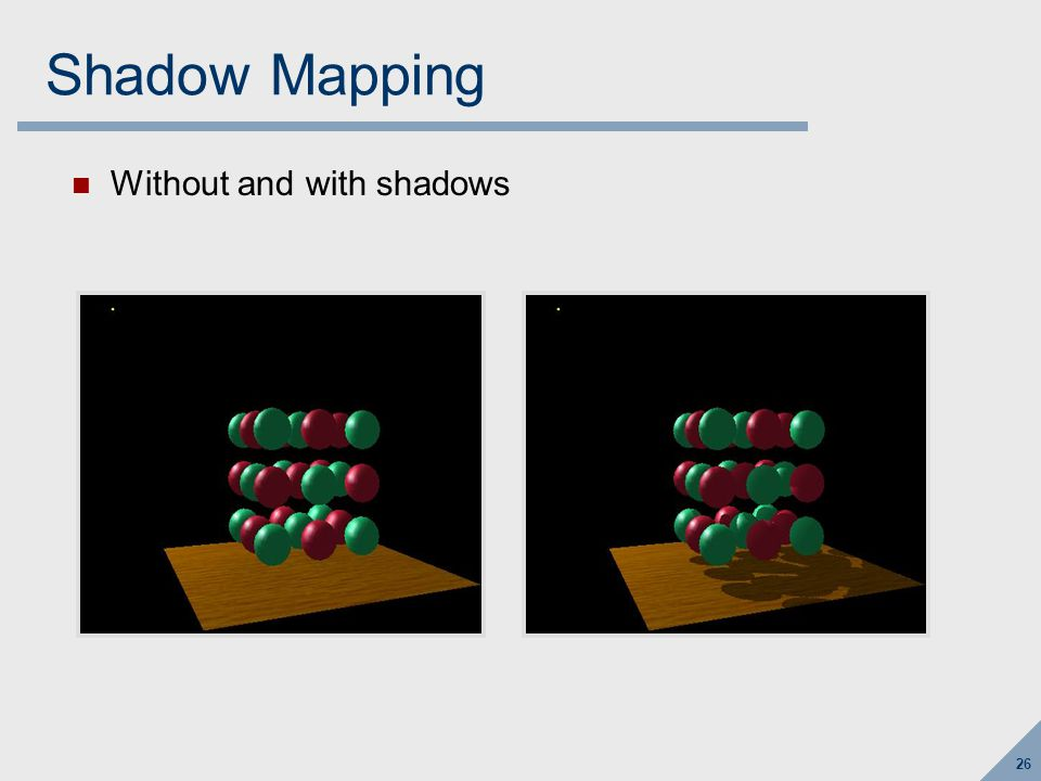 Shadow Mapping The scene from the shadow camera