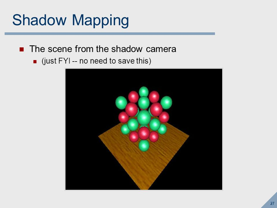 Shadow Mapping The shadowmap depth buffer