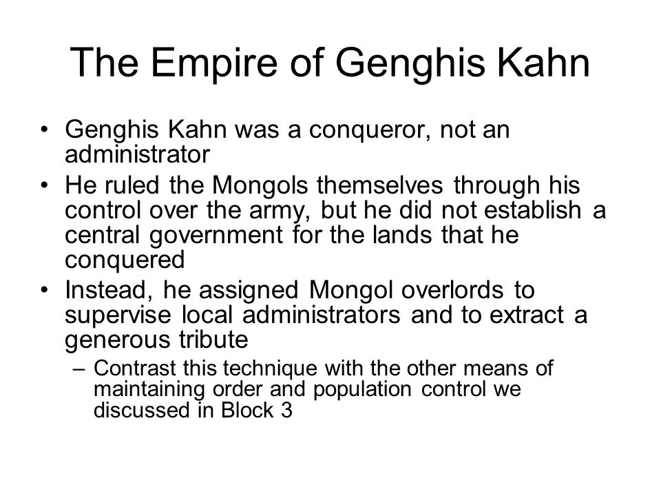 The Empire of Genghis Kahn