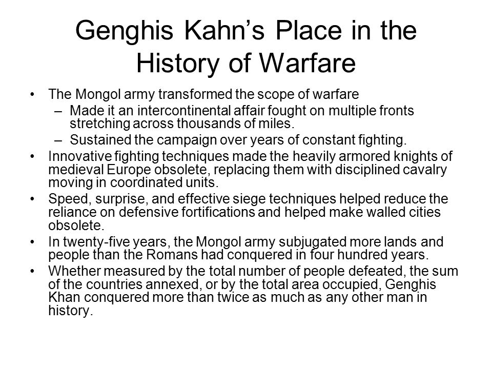 Genghis Kahn's Place in the History of Warfare