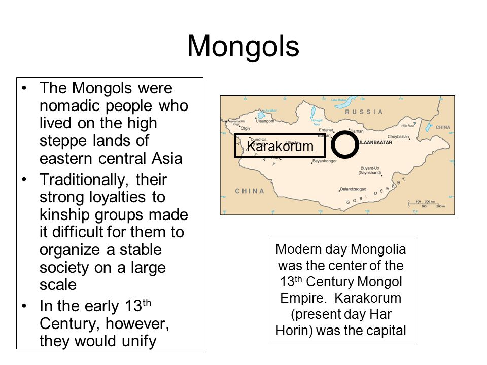 Mongols The Mongols were nomadic people who lived on the high steppe lands of eastern central Asia.