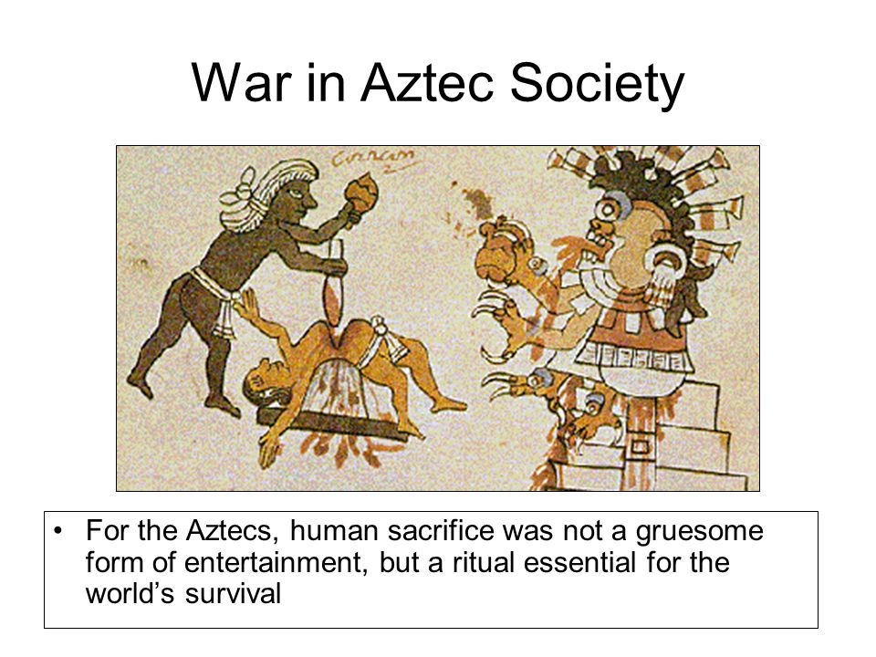 War in Aztec Society For the Aztecs, human sacrifice was not a gruesome form of entertainment, but a ritual essential for the world's survival.