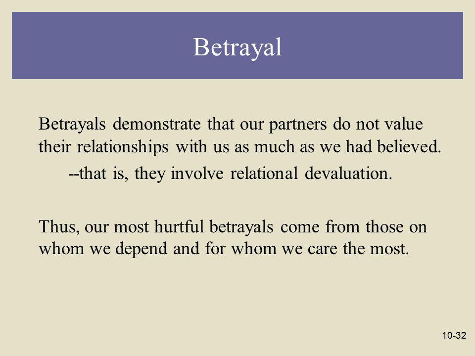 Betrayal Betrayals demonstrate that our partners do not value their relationships with us as much as we had believed.