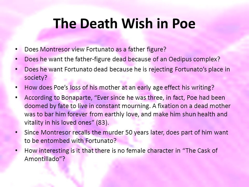 The Death Wish in Poe Does Montresor view Fortunato as a father figure Does he want the father-figure dead because of an Oedipus complex