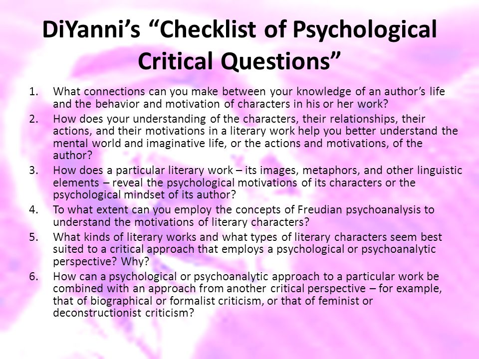 DiYanni's Checklist of Psychological Critical Questions