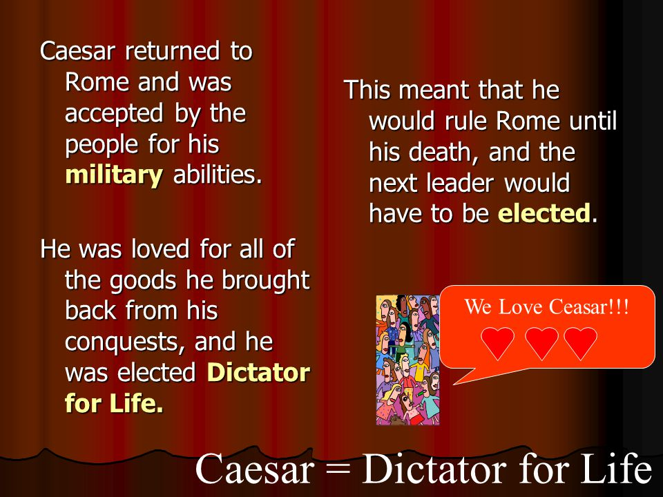 Caesar = Dictator for Life