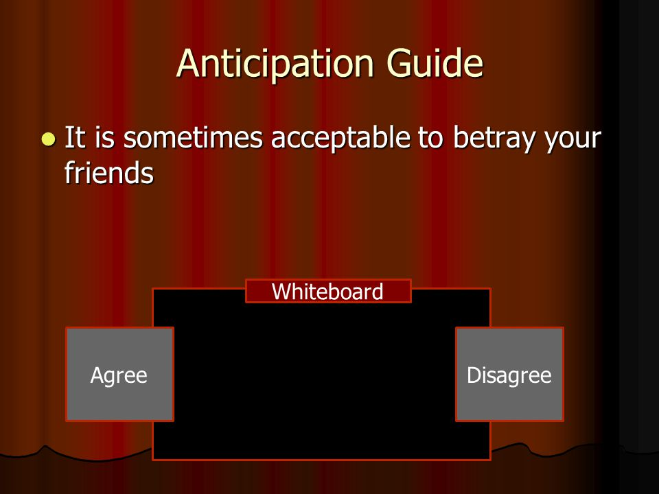 Anticipation Guide It is sometimes acceptable to betray your friends