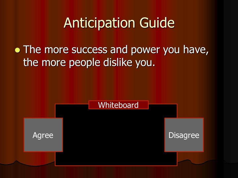 Anticipation Guide The more success and power you have, the more people dislike you. Whiteboard. Agree.