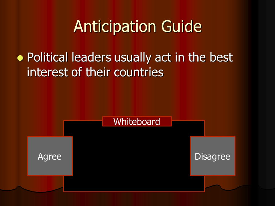 Anticipation Guide Political leaders usually act in the best interest of their countries. Whiteboard.