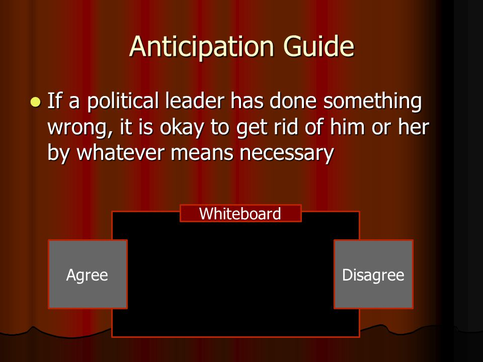 Anticipation Guide If a political leader has done something wrong, it is okay to get rid of him or her by whatever means necessary.