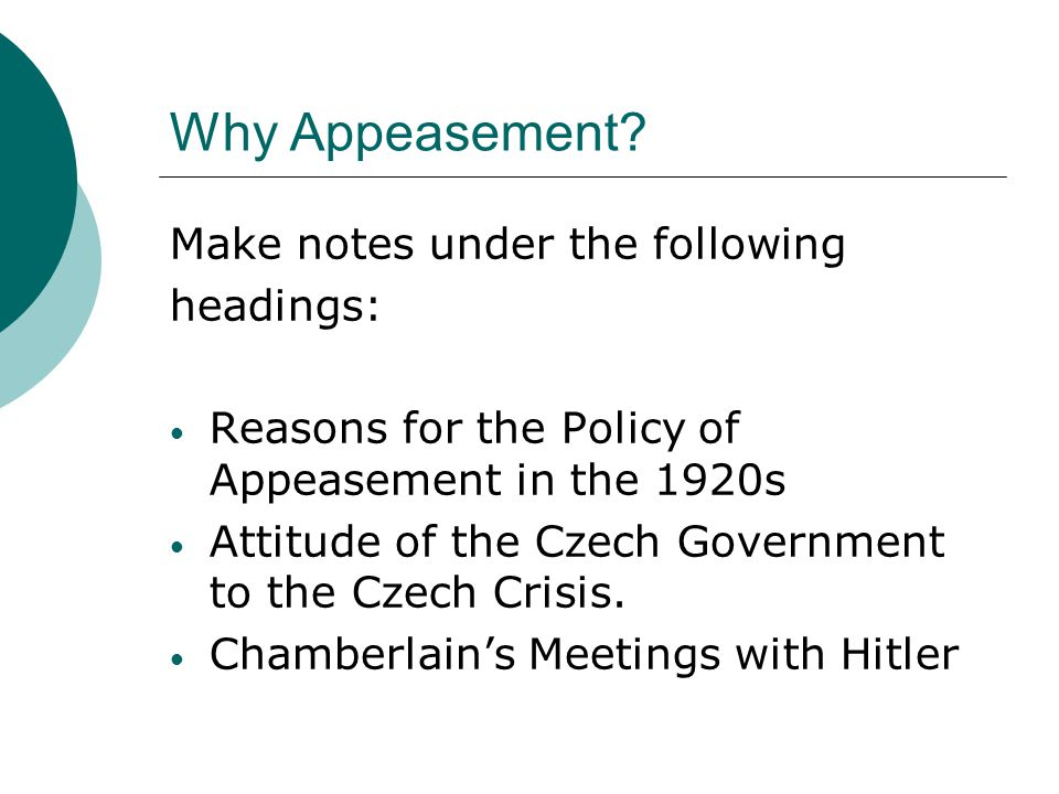 Why Appeasement Make notes under the following headings: