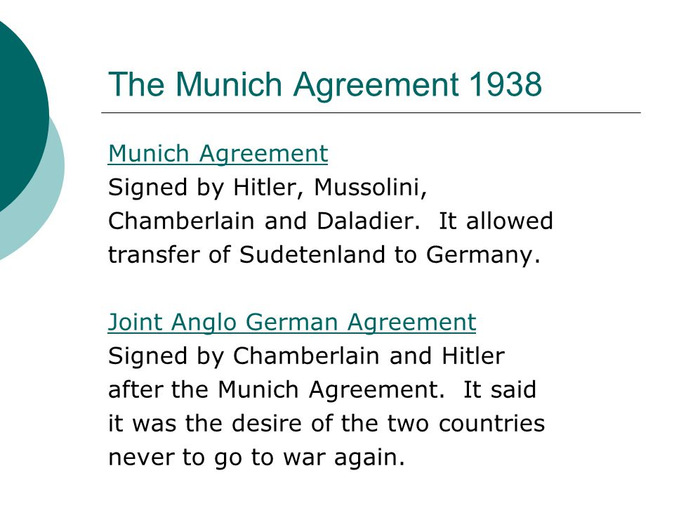 The Munich Agreement 1938 Munich Agreement