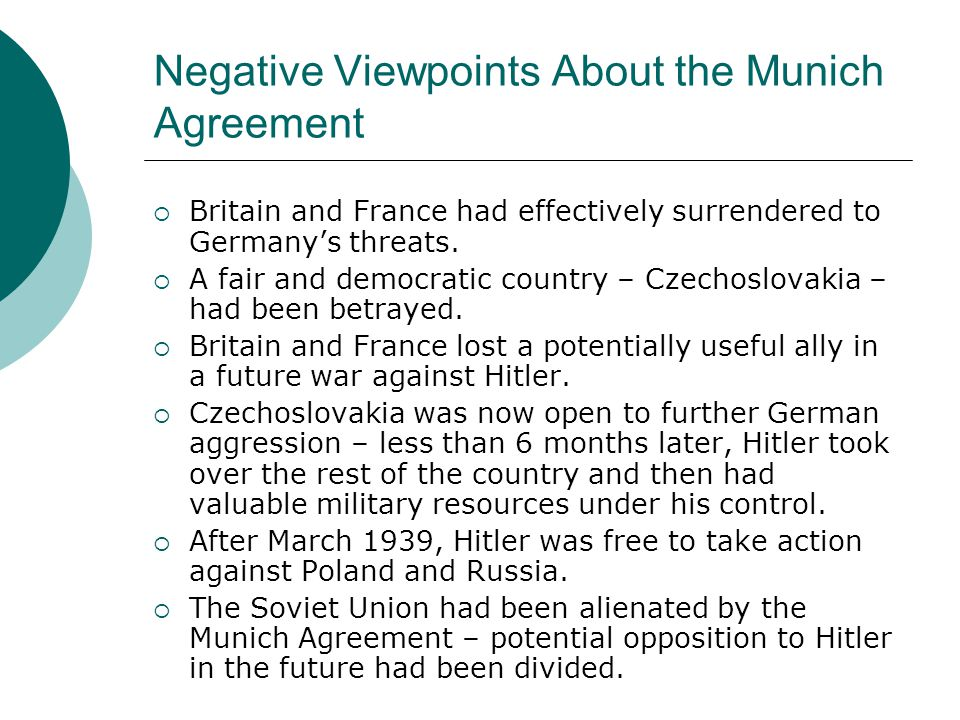 Negative Viewpoints About the Munich Agreement